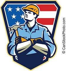 American Builder Carpenter Hammer Crest Retro - Illustration...