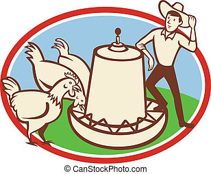 Chicken Farmer Feeder Cartoon - Illustration of a group of...
