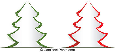 Christmas Tree paper cutout - Christmas greeting template,...