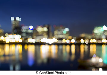 Portland Downtown Out of Focus City Lights - Portland Oregon...