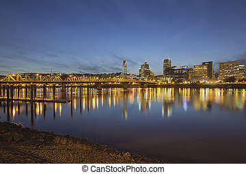 Portland Downtown with Hawthorne Bridge at Dusk - Portland...