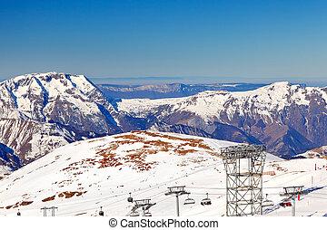 Ski resort in French Alps - Slopes of ski resort in French...