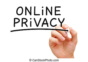 Online Privacy - Hand writing Online Privacy with black...