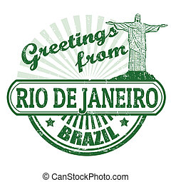Greetings from Rio de Janeiro stamp - Grunge rubber stamp...