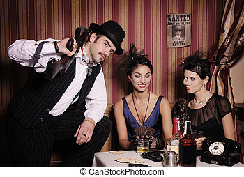 Gangsters playing cards. - Gangsters playing cards, picture...