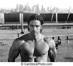 Sexy muscular male model - Black and white portrait of a hot...