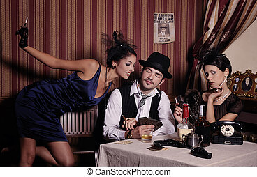 Gambling mafia type with cigarette, playing poker. -...