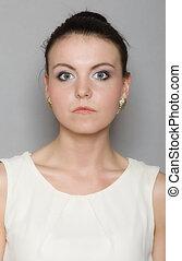 Portrait young woman beautiful girl hair bun - Portrait of...