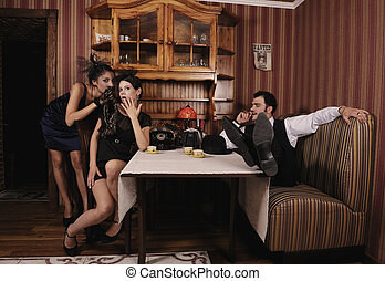 Boss drinking coffee with his favorites - Mistresses discuss...