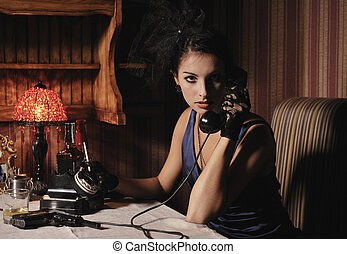 Woman in retro style. - Woman portrait in retro style with...