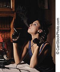 Woman portrait in retro style. - Woman portrait in retro...