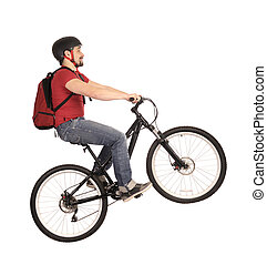 bicyclist on white - The bicyclist isolated on white, studio...