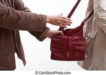 ladrón, toma, mujer, bolsa