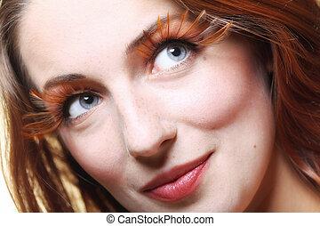 Autumn woman stylish creative make up false eye lashes -...