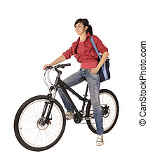 woman bicyclist - Young woman bicyclist isolated on white,...