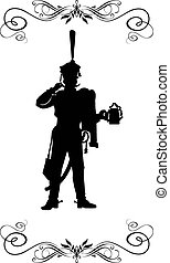 XIX century - 3 - Silhouette of a Russian hussar, holding a...