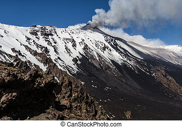 Etna, éruption, -, Catania, Sicile