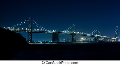 Bay Bridge - The Bay Bridge at night between Oakland and San...