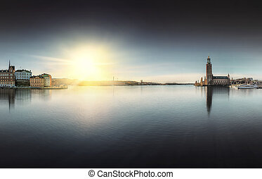 Stockholm City Hall with Riddarholmen to the right during...