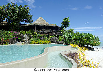 Beach bungalow in tropical pacific ocean Island. - Beach...