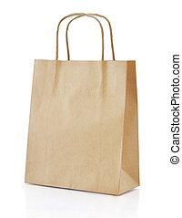 shopping bag - Paper brown shopping bag isolated on white...