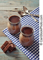 Chocolate dessert panna cotta in glass jars on wooden...