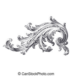 Acanthus Scroll - Ancient vector engraving of acanthus...