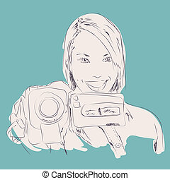 Girl Holding Video Camera - Vector drawing of a happy girl...