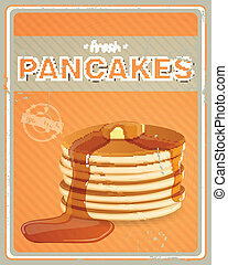 Vector Pancakes Sign - Vector Illustration of a Vintage...