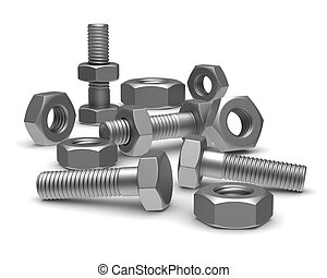 Bolts and nuts on white background Isolated 3D image