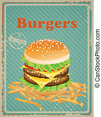 Vector Burger Sign - Vector Illustration of a Vintage Burger...