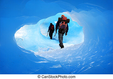 Ice cave - A Mountain climbers at Perito Moreno Glacier,...