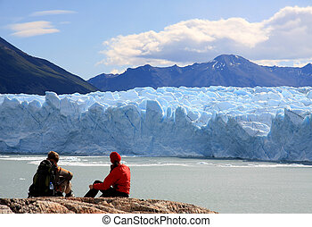 Perito Moreno Glacier, Argentina - Couple looking at Perito...