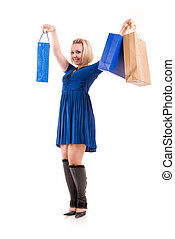 happy beautiful woman with shopping bags
