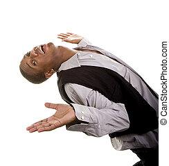 Young Black Man Bending Over Backwords
