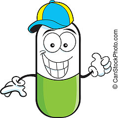 Pill capsule wearing a baseball cap - Cartoon illustration...