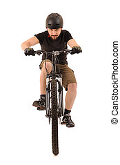 The bicyclist isolated on white - Riding bicyclist isolated...