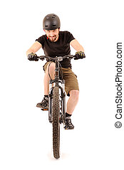 The bicyclist on white - The bicyclist isolated on white,...