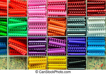 slots of brackets in different colors