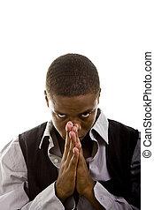 Young Black Man Praying