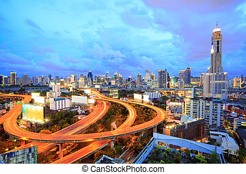 Bangkok downtown at dusk - Bangkok Highway at Dusk with...