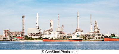 panorama Oil refinery plant tanker - panorama landscape of...