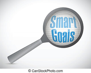 smart goals under magnify search illustration design over a...