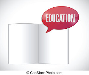 book education message illustration design over a white...