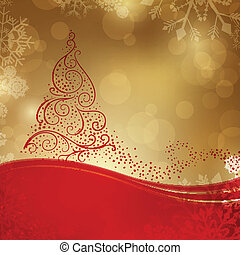 Vector Christmas Background with a Stylized Christmas Tree -...