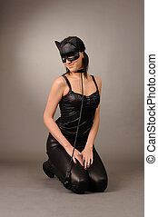 girl in the cat's mask - attractive girl in the cat's mask,...