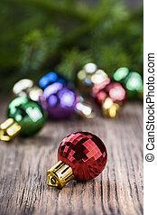 Christmas ball on wood background - Christmas ball on old...