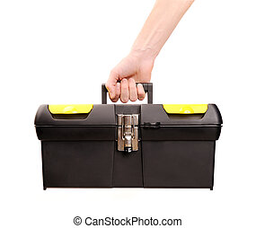 hand holding toolbox