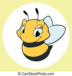 Cartoon Bee - Vector illustration of cartoon bee