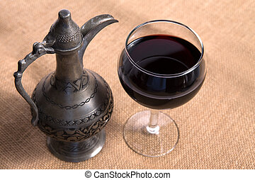 Simple View Of Pewter Flagon and Red Vine in the Glass -...